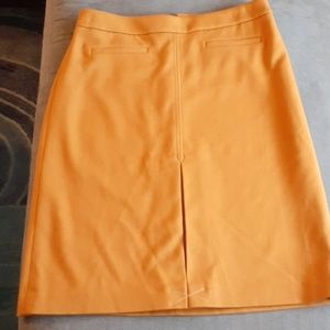 Loft mustard skirt career pockets nwot midi lined